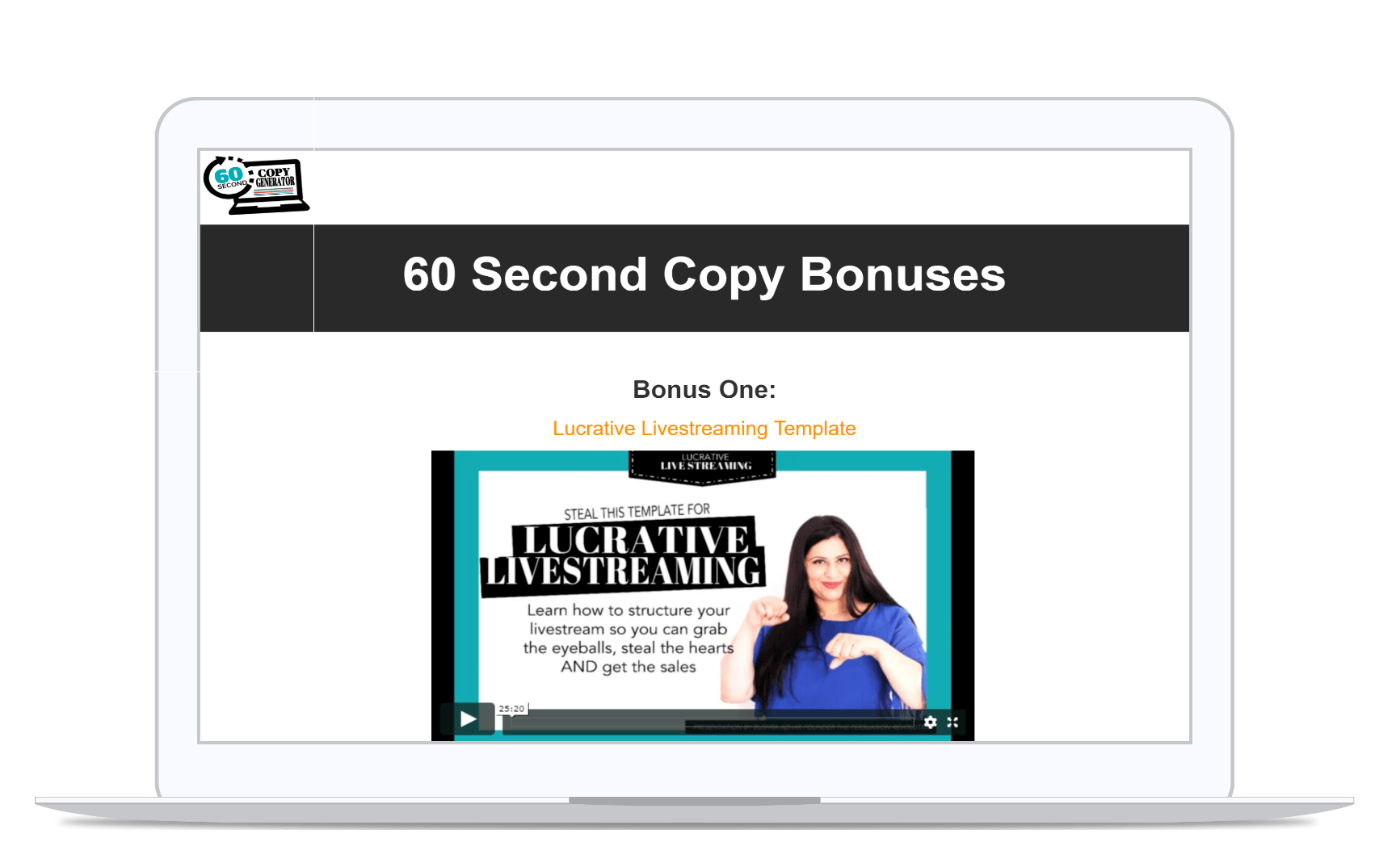 60 Second Copy Bonus